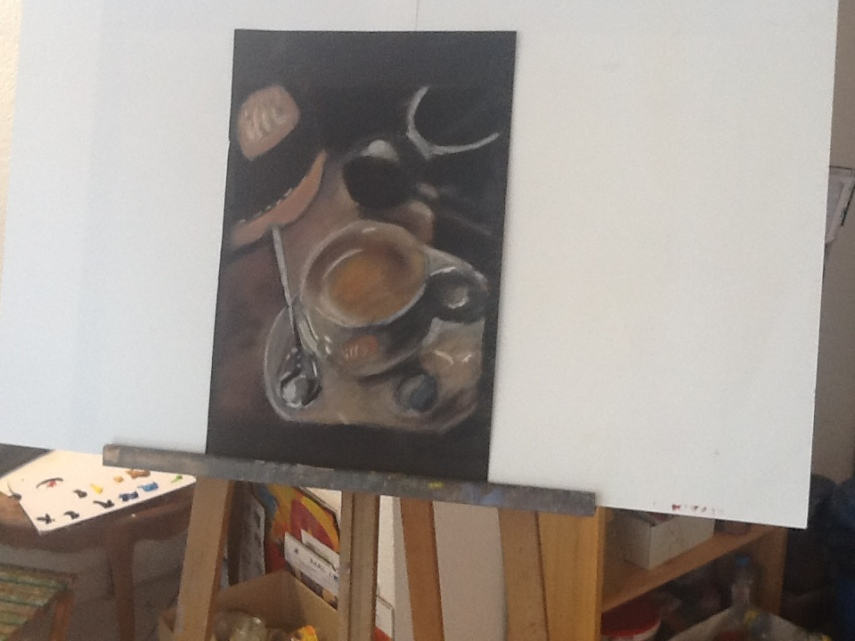 I love French coffee....so much that I drew one myself with pastels....when not in the kitchen, l'art come l'inspiration