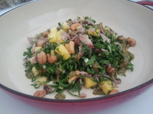 Duck leg salad with pineapples and cashews, created by Chef Alan Jackson.